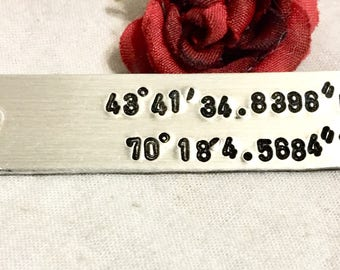 Coordinates key chain, chart your longitude and latitude, special location, personalized, hand stamped key chain,