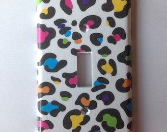 Rainbow Leopard Single Light Switch Cover / Animal Print Decor / Teen Bedroom / Leopard Nursery Decor / Lisa Frank Decor / Pink Leopard