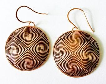 Where I Now Stand Earrings Copper Tsalagi Cherokee Made