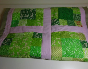 Table Runner - Green & Pink Quilted Runner