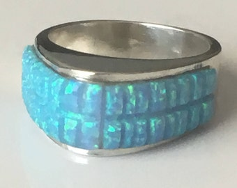 Opal sterling silver ring, Southwestern opal ring, chunky ring