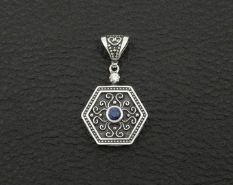 Sapphire Cz Pendant Byzantine Style 925 Sterling Silver Greek Handmade Art Luxury