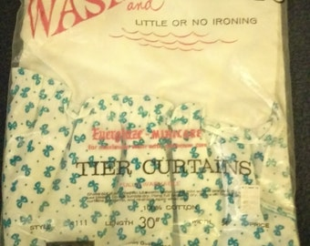 Grant Crest Wash and Hang Tier Curtains In Original Packaging, Grants Own Brand, Style 111, White with Bright Blue Bows, Children's Room