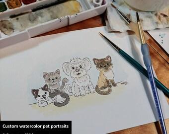 OOAK Watercolor Pet Portraits