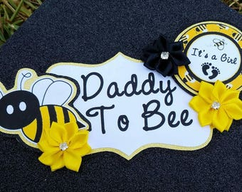 Bumble Bee Black Yellow White Themed Daddy To Bee Baby Shower Badge