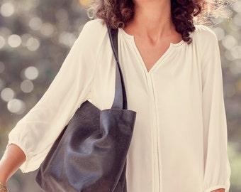 Black Leather Bag, Leather shoulder Bag, Soft Leather Bag,Black Bag, Leather Handbag with Zipper closer,  Large Leather Bag - SHIRI  Bag