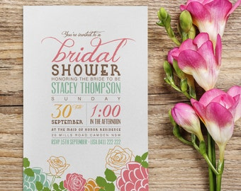 Imprimable sur mesure Bridal Shower (ou n'importe quelle occasion) invitation - fleur