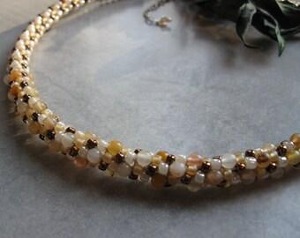 Golden Jade Kumihimo Necklace