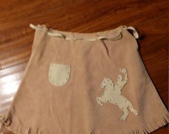 Cowgirl Western Mini Skirt Suede XS
