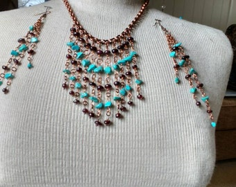 Stunning Turquoise And Garnet Necklace And Earrings Set