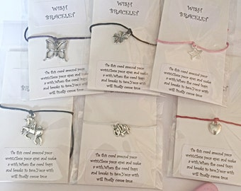 Wish Bracelet - Cord Wish Bracelet - Friendship Bracelet -Choice of Colours - Various Charms - Party Favour - Stocking Filler - Gift For Her