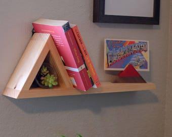 One Mountain Floating Shelf Display, Triangle Shelf, Entryway organizer, Record storage, Air plant holder, Apothecary, Bohemian style shelf