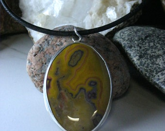 Large Kentucky Agate Necklaces, Black Leather Cord Necklaces, Large Cabochon Necklaces and Jewelry