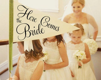 Here Comes The Bride Sign | Made To Order | Large Pennant Flag Wedding Sign For Your Flower Girl | Photo Prop | Classic Script Font 1001 LW