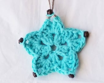 Crocheted Ornament Aqua Star with Antique Copper Accents