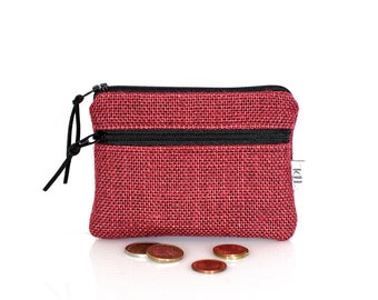 Burlap mini wallet, Red coin purse, Small change pouch, Jute zipper pouch, Business Card holder, Teacher gift, Earbud case, Valentine gift