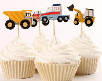 READY TO SHIP - 12 Cars and Trucks Cupcake Toppers, Cake, Toppers, Picks, Cake Toppers, Cake Topper Pick, Cupcake Picks, Birthday, Baby