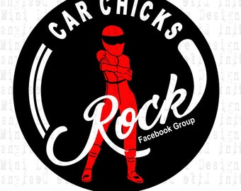 """Grill Badge- Car Chicks Rock  3"""" magnetic grill badge"""