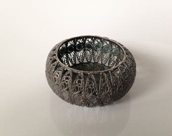 metal - crafts - vintage lace, tiny basket