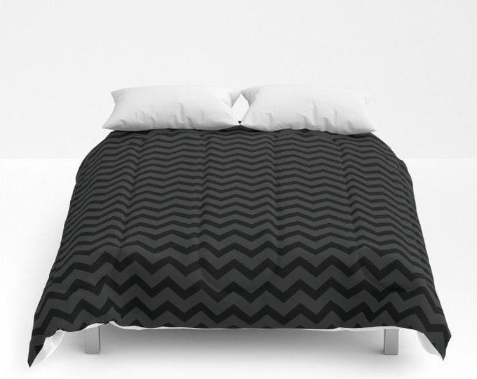 Black and Gray Small Chevron Comforter - Bed Cover - Bedding - King - Queen - Full - Made to Order