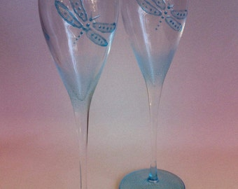 Hand painted Pair of Blue Dragonfly Champagne flutes.