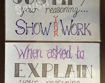 Set of 2 Classroom Poster Printables - Justify Your Reasoning AND Explain Your Reasoning - INSTANT DOWNLOADS