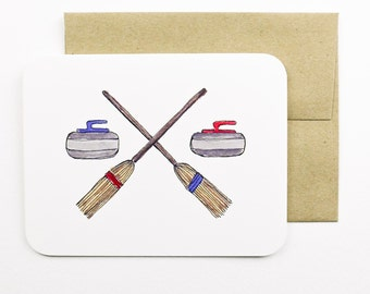 Curling rocks and brooms card with envelope | Curling | Winter sport | Curling rocks | Curling brooms | Greeting card | Holiday