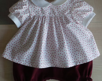 cotton and velvet bloomer blouse set 12 months