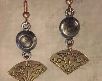 Enameled Bead and Brass Fan Dangling Earrings