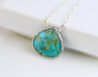 Sterling Silver Turquoise Necklace - Turquoise | Pear Shaped | Sterling Silver | Layering Necklace