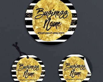 Printable Price Tags - Product Labels - Printable Round Label  or Hang Tag Design - Black, White Gold Label - Geometric 7-16
