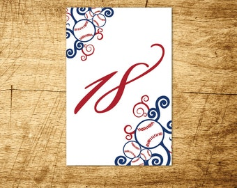 Baseball Wedding Printable Table Numbers