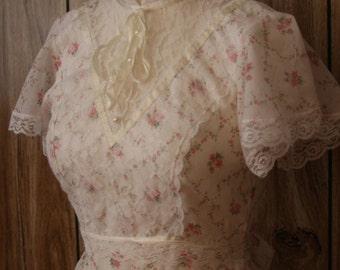 70s lace and floral prairie hippie bohemian dress