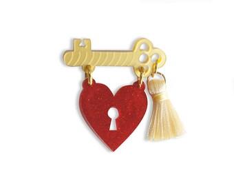 Heart Padlock Brooch / Love Talismans Collection.
