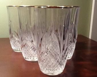 Six Vintage Gold Rim Highball Glasses