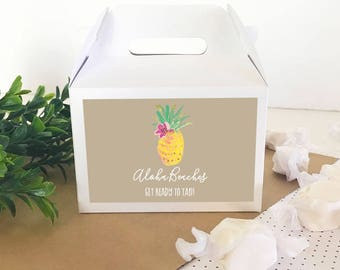 Pineapple Favor Box - Pineapple Wedding Favor Boxes Tropical Wedding Ideas Hawaiian Bridal Shower Favor Boxes  (EB2313TPB) - 12 pcs