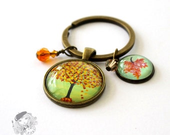 Tree keychain. Fall tree art glass keychain. Gift for her. Womens gift. Fall leaves painting keychain. Whimsical tree keyring Gift for women