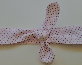 "headband tie 12-18 month purple/white ""confetti"""