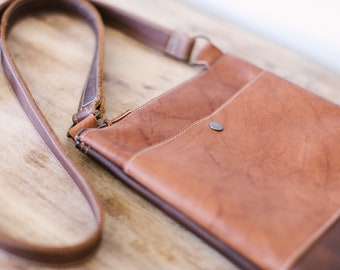 Small leather crossbody bag, handmade leather purse, zippered leather crossbody bag with pockets, brown and rust leather purse