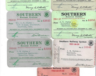 Seven, 1950s & 1960s Vintage Southern Railway System Limited Passes, 1949 to 1965, Southern Railway Vintage Railroad Collectible Passes