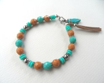 Western bracelet, country bracelet, Country Western Bracelet, Cowgirl Bracelet, Southwestern Bracelet, turquoise and tan bracelet