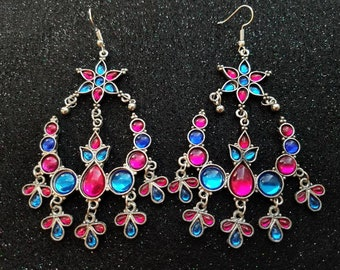 Pink and blue earrings, boho earrings, Kuchi earrings, tribal earrings, ethnic earrings, India earrings, gifts for her