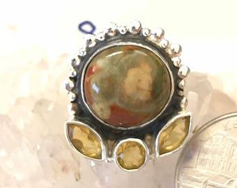 Ocean Jasper and Citrine Ring Size 8