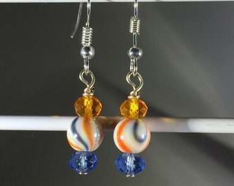 Orange and blue swirls with matching crystals. French Hook.