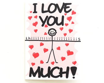 Cute Valentine's Day Card | I Love You Thiiiiiis Much!  Greetings Card for your Loved One | Illustrated Love Hearts | UK