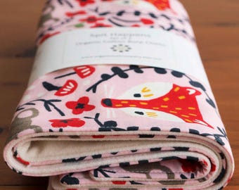 Pink Fox, Mouse, Floral Burping Pads for Baby Girl; Pretty Woodland Burp Rags; Organic Cotton Burp Cloths; Handmade Baby Gift, Folk Friends