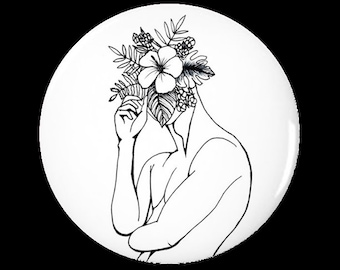 Minimal, Modern, Edgy, Line Drawing, Man, Tropical, Botanical, Floral, Bouquet, Face, Pinback Button