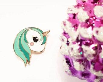 Teal unicorn enamel Kawaii pin   Unicorn lapel pin kawaii hard enamel   Unicorn kawaii pin   Cute gift for her