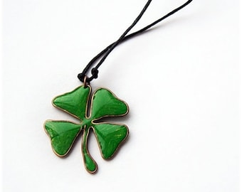Four Leaf Clover Lucky charm necklace Green Four Leaf pendant Gift for St. Patricks Day Gift for good luck Small gift for him Ireland symbol