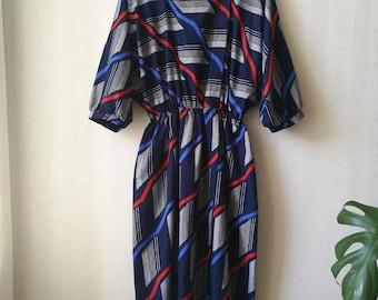 Nautical Navy & Red Dolman Dress